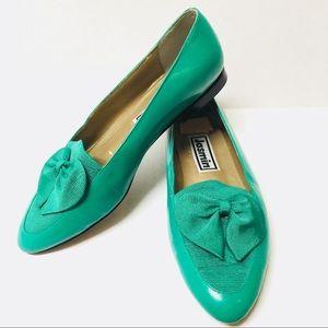 80s 90s Vintage Jasmin grosgrain bow loafers 8.5